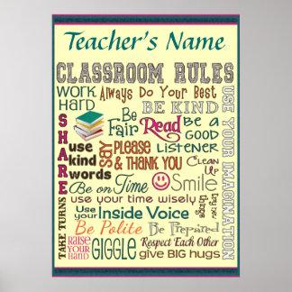 Teacher Class Room Rule Add Name Customize Poster