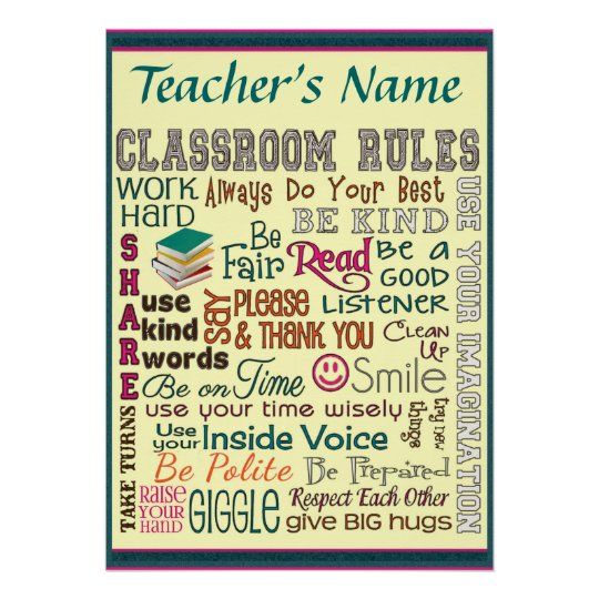 Teacher Class Room Rule Add Name Customize Poster
