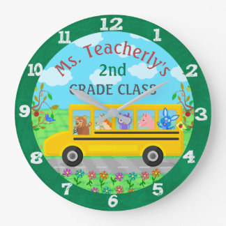 Teacher Classroom Cute Animals on Bus Custom Name Clocks