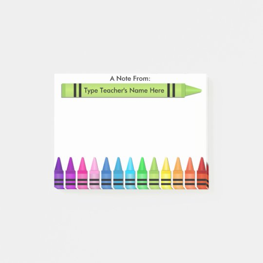 Teacher Crayon Personalized Post-it Note
