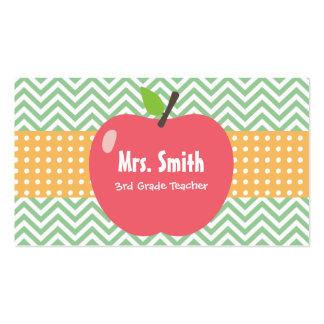 Teacher Cute Apple Chevron Stripes Business Card