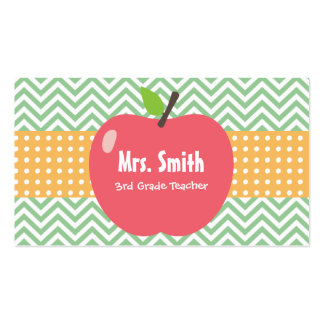 Teacher Cute Apple Chevron Stripes Pack Of Standard Business Cards