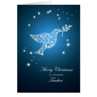 Teacher, Dove of peace Christmas card