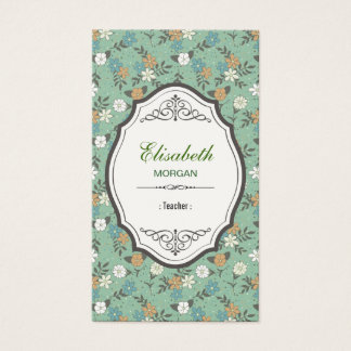 Teacher - Elegant Vintage Floral Business Card