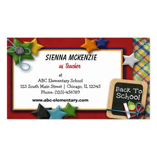 Teacher Elementary School Business Card Templates