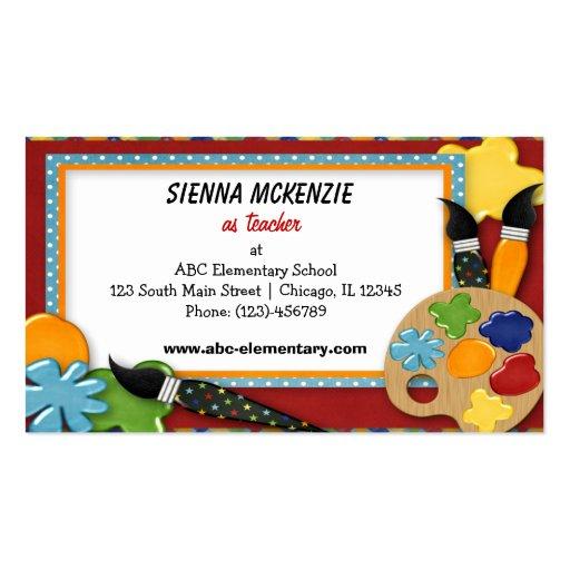 Teacher elementary school pack of standard business cards for Teacher business card template free