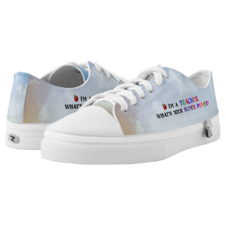 """""""Teacher,"""" Fun and Colorful Design Low-Top Sneakers"""