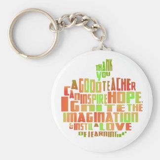 Teacher Gift Keepsake Apple Quote Thank You Keychain