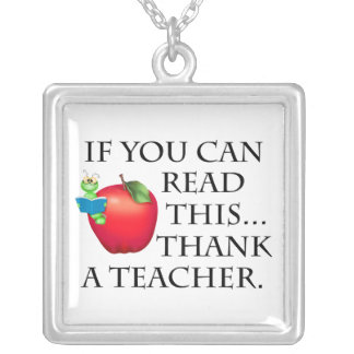 Teacher Gift Silver Plated Necklace