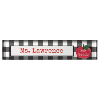 Teacher Gingham Desk Nameplate