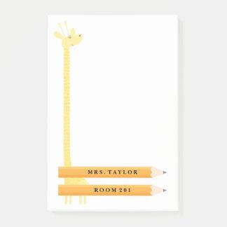 Teacher Giraffe Personalized Post It Notes