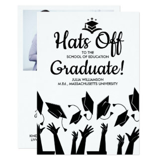 Teacher Graduation Hats Off Grad Photo Party Card
