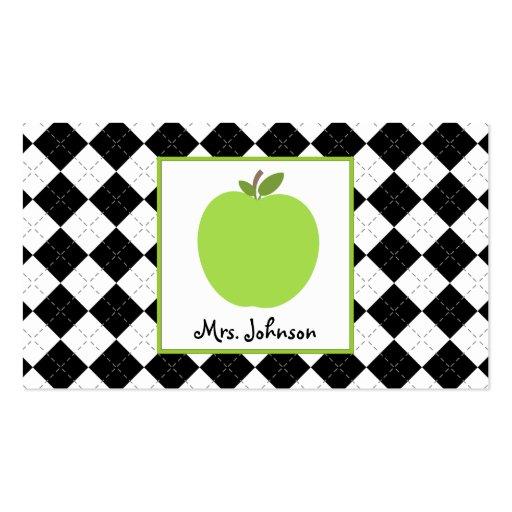 Teacher Green Apple Black Argyle Business Card Templates