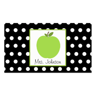 Teacher Green Apple Black With White Polka Dots Business Card