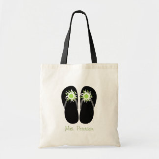 Teacher Green Apple Flip Flops With Pom Poms Tote Bag