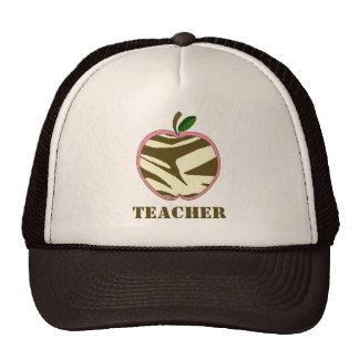 Teacher Hat - Brown Zebra Print Apple