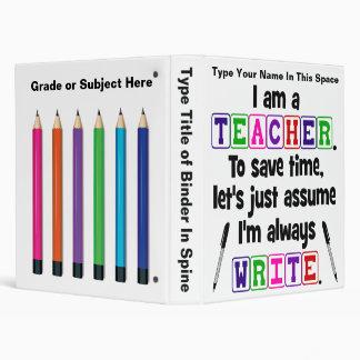 Teacher is Always Write - Personalized Binder