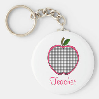 Teacher Keychain - Charcoal Gray Gingham