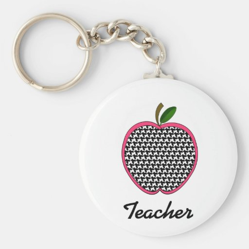 Teacher Keychain- Houndstooth Apple With Pink Trim