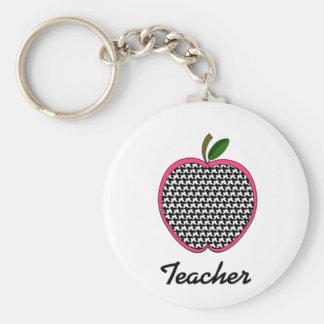 Teacher Keychain- Houndstooth Apple With Pink Trim Basic Round Button Keychain