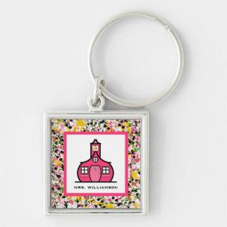 Teacher Keychain - Multicolor Paint Splatter