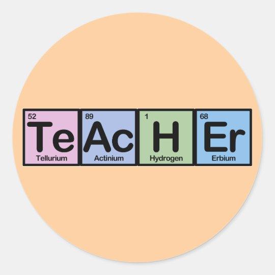 Teacher made of Elements Classic Round Sticker