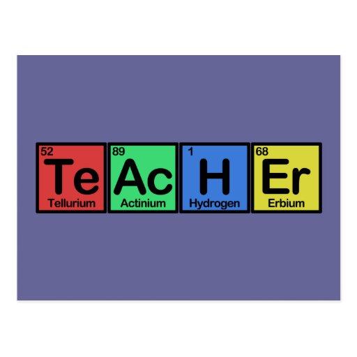 Teacher made of Elements colors Postcard