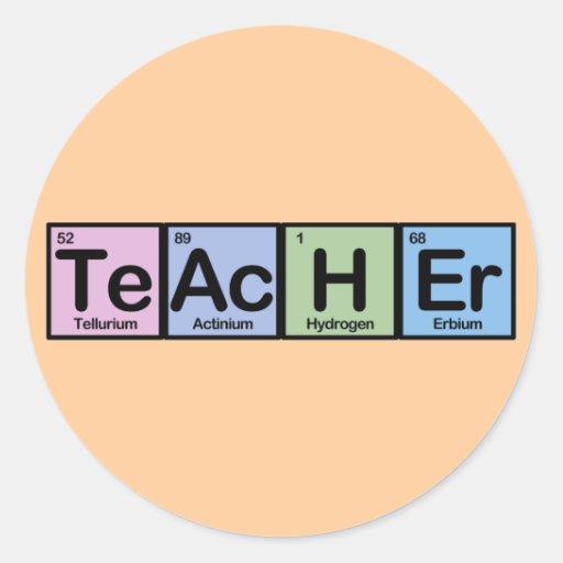 Teacher made of Elements Round Sticker
