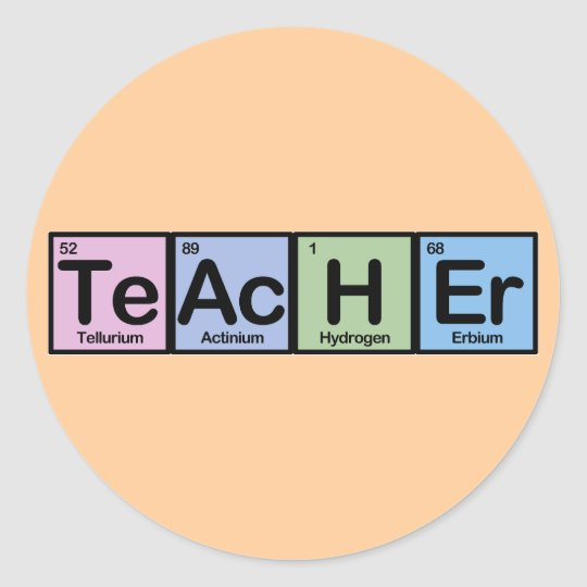 Teacher made of Elements Round Sticker