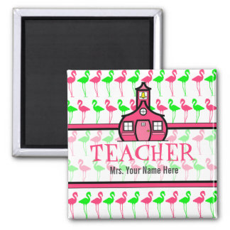 Teacher Magnet - Pink & Green Flamingo Pattern
