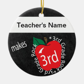 Teacher Makes 3rd Grade Rock | Chalkboard Ceramic Ornament