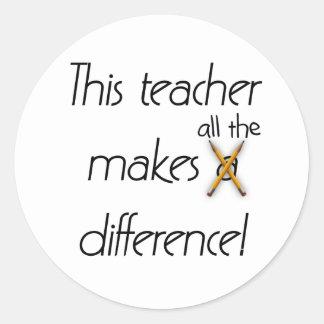 Teacher Makes a Difference Round Sticker