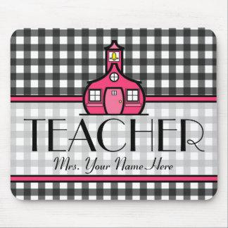 Teacher Mousepad - Charcoal Gray Gingham