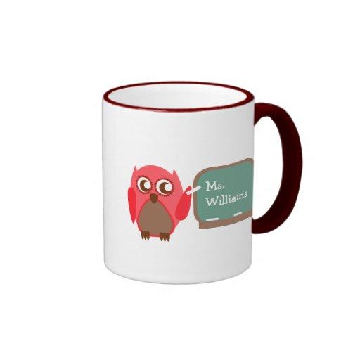 Teacher Mug - Red Owl at Chalkboard