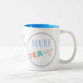 Teacher mug, Tea-riffic,  best teacher, gift Two-Tone Coffee Mug