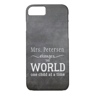 Teacher name chalkboard white typography quote iPhone 8/7 case