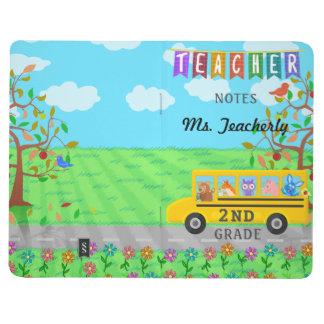 Teacher Name Classroom Notes | Cute Animals on Bus Journal