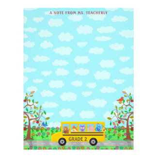 Teacher Name Classroom Notes | Cute Animals on Bus Letterhead