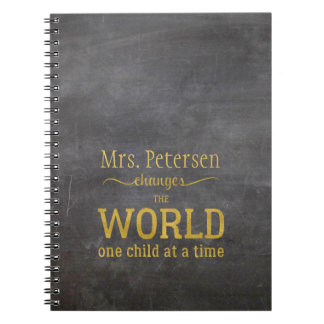Teacher name gold chalkboard script quote notebook