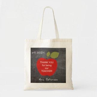 Teacher name | red apple blackboard thank you tote bag