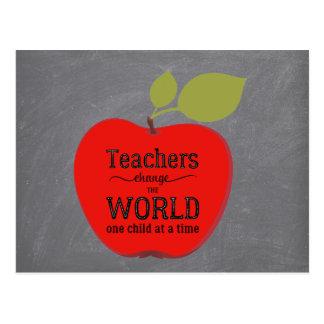 Teacher name thank you red apple chalkboard postcard
