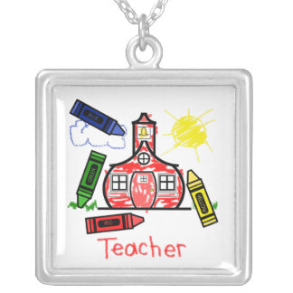 Teacher Necklace - Schoolhouse Crayon Drawing