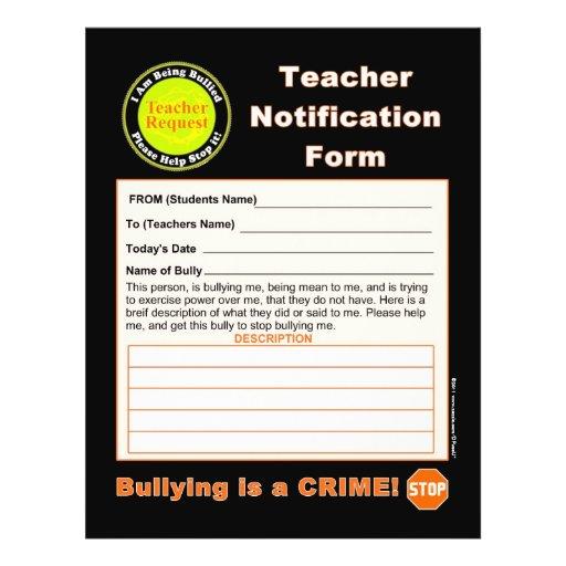 Teacher Notification Form For Bullying Full Color Flyer