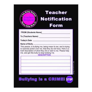 Teacher Notification Form For Bullying Custom Flyer