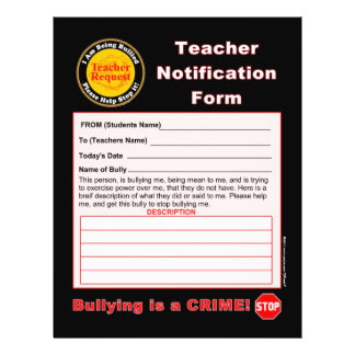 Teacher Notification Form For Bullying Personalized Flyer