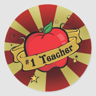 Teacher Number One Apple & Beams Tattoo Sticker