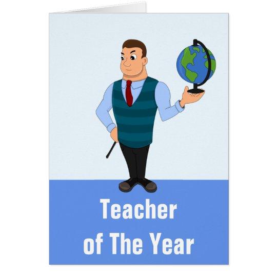 Teacher of the year cartoon card