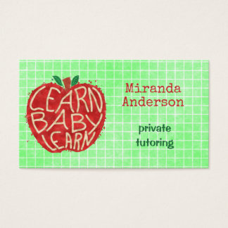 Teacher or Private Tutor Learn Baby Apple and Grid Business Card