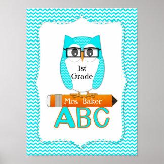 Teacher Owl Chevron Teal Poster