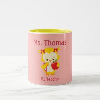 Teacher Owl Pink yellow and red Two-Tone Coffee Mug